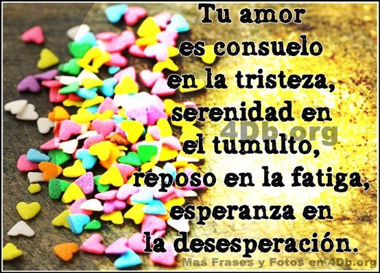 Frases Para Enamorar Tu amor es consuelo en la tristeza.