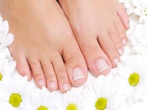 Flowers around beautiful female feet