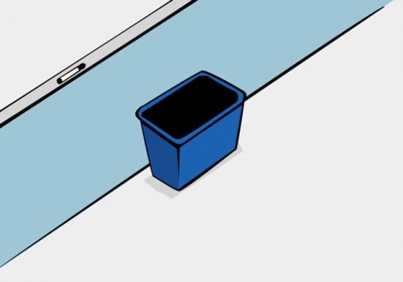 07 esperimento social, cesto junto a pizarra
