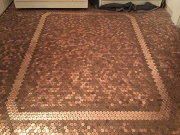 Al final se ve el hermoso diseño logrado con las monedas piso de monedas