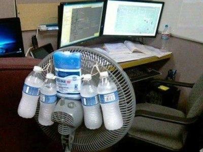 los problemas siempre tienen solucion, ventiladors con hielo