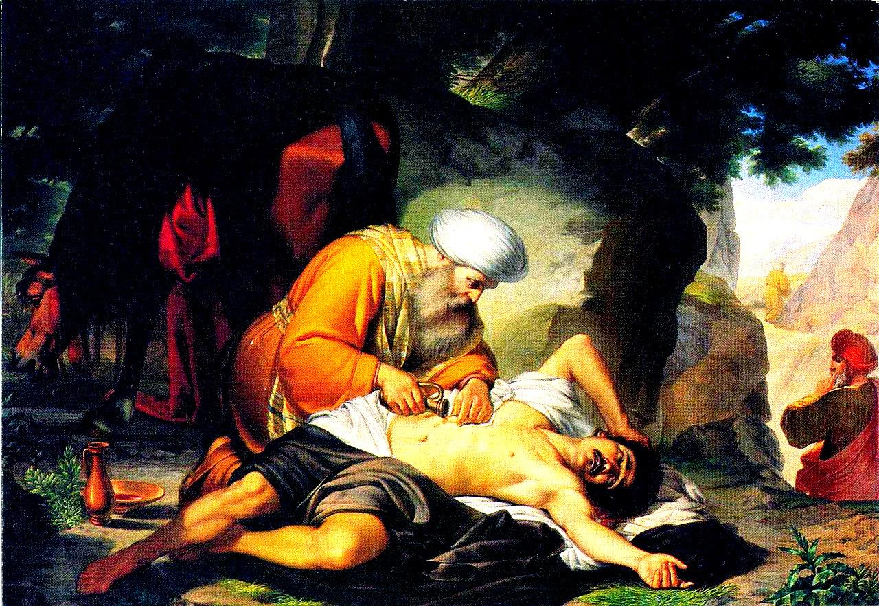 El hombre caido y el religioso que lo discrimina y lo destruye