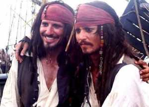 Johnny Depp y su doble de acción