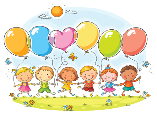 Happy kids outdoors with balloons with copy space, no gradients