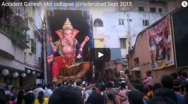 Una estatua de un dios hindú se cae sobre las personas que lo adoraban