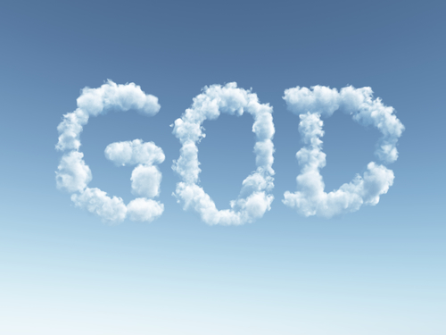 clouds makes the word god in the sky - 3d illustration