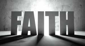 Faith word with shadow, background with text