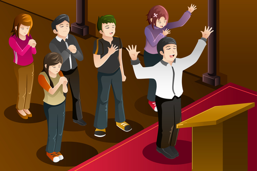 A vector illustration of people having a group prayer