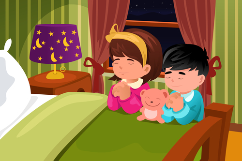 A vector illustration of kids praying before going to bed