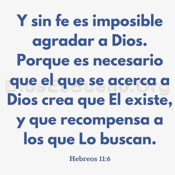 Y sin fe es imposible agradar a Dios. Porque es necesario que el que se acerca a Dios crea que El existe, y que recompensa a los que Lo buscan